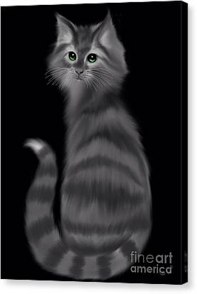 Canvas Print featuring the painting Gray Striped Cat by Nick Gustafson