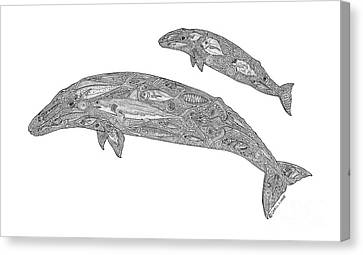 Gray Whale And Calf Canvas Print by Carol Lynne