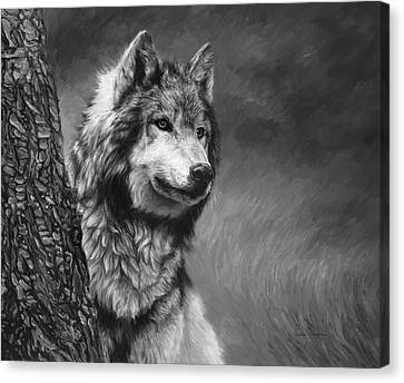 Gray Wolf - Black And White Canvas Print by Lucie Bilodeau