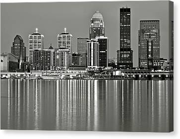Southern Indiana Canvas Print - Grayscale Louisville Lights by Frozen in Time Fine Art Photography