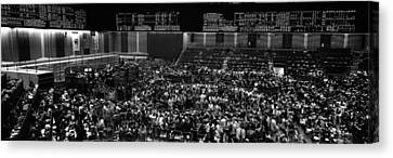 Frenzy Canvas Print - Grayscale Panoramic View Of Chicago Mercantile Exchange by Panoramic Images