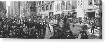 Grayscale Parade For 1998 World Series Canvas Print by Panoramic Images