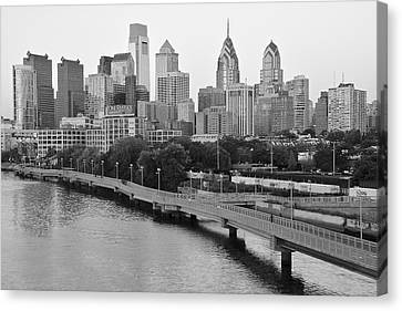 Grayscale Philly Skyline Canvas Print by Frozen in Time Fine Art Photography