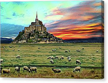 Grazing At Mont Saint Michel Canvas Print