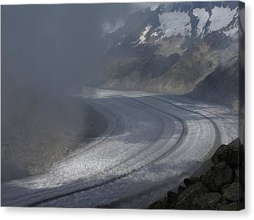 Great Aletsch Glacier In The Clouds. Canton Of Valais, Switzerland. Canvas Print