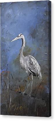 Great Blue Heron In Blue Canvas Print by Carolyn Doe
