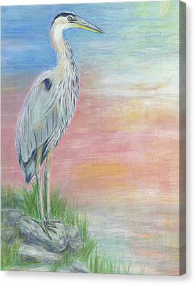 Canvas Print featuring the painting Great Blue Heron  by Jeanne Kay Juhos