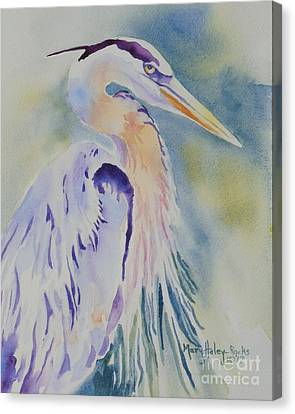Canvas Print featuring the painting Great Blue Heron by Mary Haley-Rocks