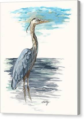 Great Blue Canvas Print by Kathleen Kelly Thompson