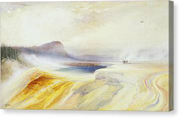 Great Blue Spring Of The Lower Geyser Basin Canvas Print by Thomas Moran