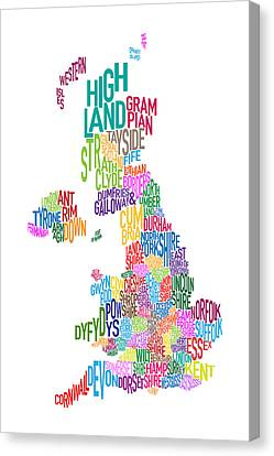 Great Britain County Text Map Canvas Print