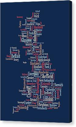 Scotland Canvas Print - Great Britain Uk City Text Map by Michael Tompsett