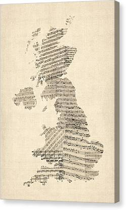 Great Britain Uk Old Sheet Music Map Canvas Print by Michael Tompsett