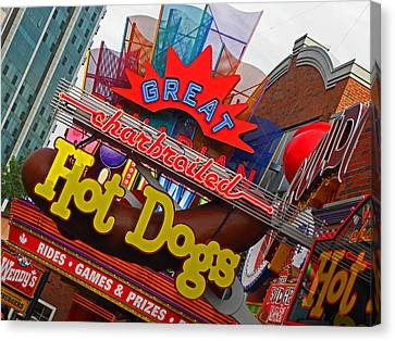 Great Charbroiled Hot Dogs Canvas Print by Elizabeth Hoskinson