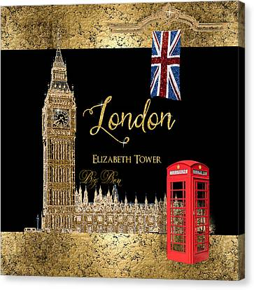 Great Cities London - Big Ben British Phone Booth Canvas Print by Audrey Jeanne Roberts