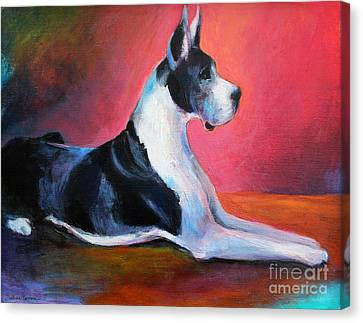 Great Dane Painting Svetlana Novikova Canvas Print by Svetlana Novikova