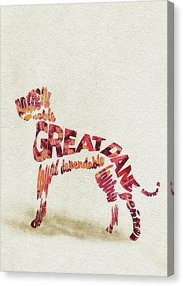 Great Dane Watercolor Painting / Typographic Art Canvas Print