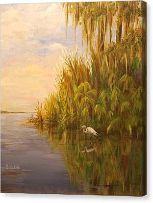 Great Egret On Marsh Canvas Print by Beth Maddox