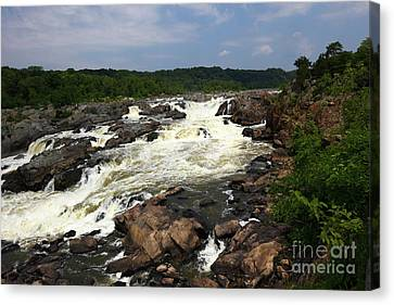 Great Falls Park Canvas Print - Great Falls On The Potomac River Maryland by James Brunker