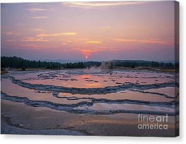 Great Fountain Geyser Sunset Reflections Canvas Print by Michael Ver Sprill