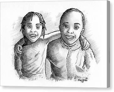 Biro Art Canvas Print - Great Friends by Anthony Mwangi