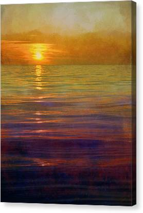 Canvas Print featuring the digital art Great Lakes Setting Sun by Michelle Calkins