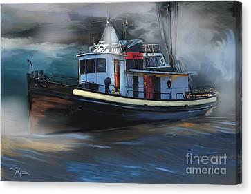 Great Lakes Tugboat Canvas Print by Bob Salo
