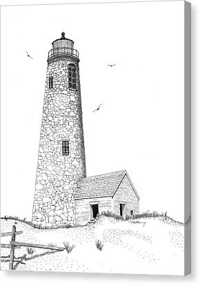 Sand Fences Canvas Print - Great Point Lighthouse by Tim Murray