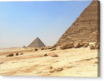 Canvas Print featuring the photograph Great Pyramids Of Gizah by Silvia Bruno