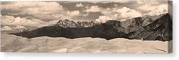 Great Sand Dunes Panorama 1 Sepia Canvas Print by James BO  Insogna