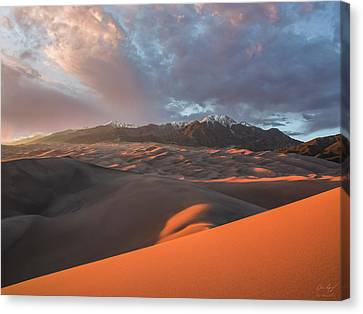 Great Sand Dunes Sunset Canvas Print by Aaron Spong