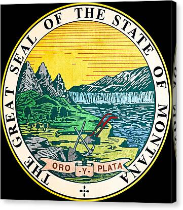 Great Seal Of The State Of Montana Canvas Print by Mountain Dreams