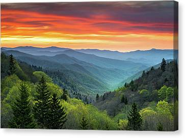 Great Smoky Mountains National Park Gatlinburg Tn Scenic Landscape Canvas Print by Dave Allen