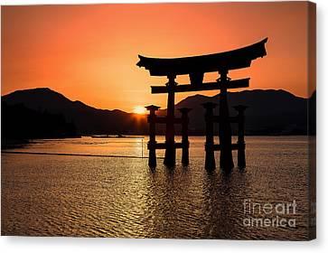 Floating Torii Canvas Print - Great Torii Sunset- Miyajima  by Rhonda Krause