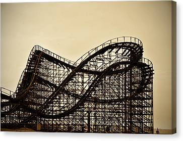 Great White Roller Coaster - Adventure Pier Wildwood Nj In Sepia Canvas Print by Bill Cannon