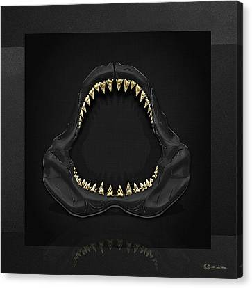 Great White Shark Jaws With Gold Teeth  Canvas Print by Serge Averbukh