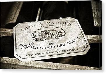 Great Wines Of Bordeaux - Chateau Margaux 1961 Canvas Print
