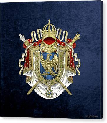 Canvas Print featuring the digital art Greater Coat Of Arms Of The First French Empire Over Blue Velvet by Serge Averbukh