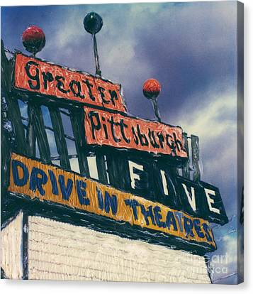 Greater Pittsburgh Five Drive-in Canvas Print by Steven  Godfrey