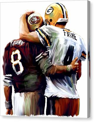 Greatness  Brett Favre And Steve Young  Canvas Print by Iconic Images Art Gallery David Pucciarelli