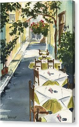 Greece Canvas Print - Grecian Taverna by Marsha Elliott