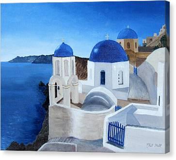 Greek Church At Santorini Canvas Print by Philip Hall