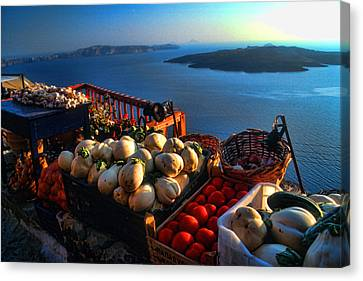 Greek Food At Santorini Canvas Print by David Smith