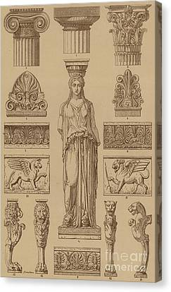 Greek, Ornamental Architecture And Sculpture Canvas Print by German School