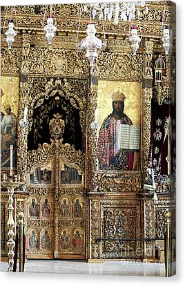 Greek Icon Canvas Print - Greek Orthodox Alter by John Rizzuto