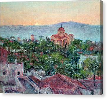 Greek Orthodox Sunset Canvas Print