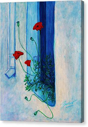 Canvas Print featuring the painting Greek Poppies by Xueling Zou