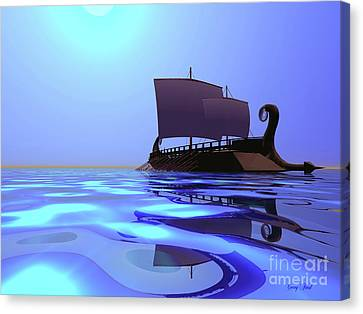 Greek Ship Canvas Print by Corey Ford