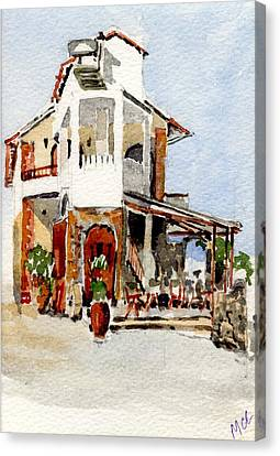 Greek Taverna. Canvas Print by Mike Lester