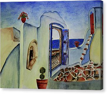 Greek Villa II Canvas Print by Mary Gaines